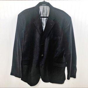 J. Ferrar Black Velour Blazer, Sports Jacket - XL